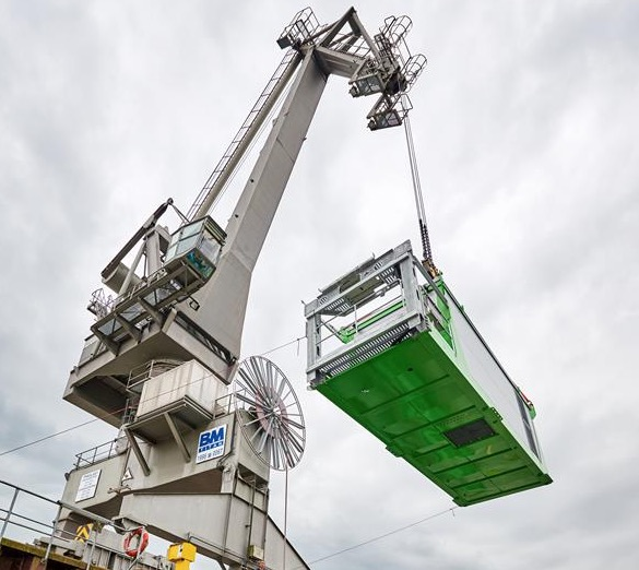Newest, largest sennebogen material handler now installed in busy Bulgarian port