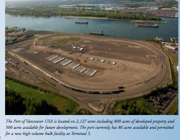 Port of Vancouver USA: 86 acres available for a new mineral bulk facility