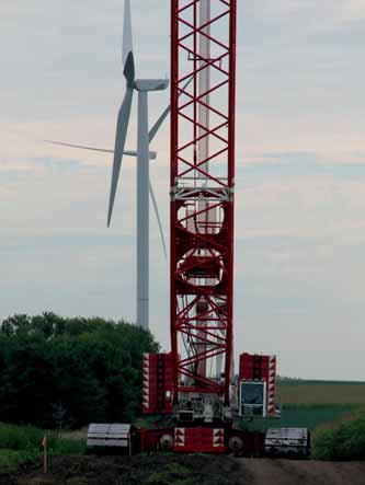 Two Terex® CC2800-1 crawler cranes make short work of Hawkeye Wind Farm